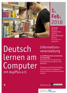 Plakat Asylplus Info Veranstaltung Stadtbibliothek Sendling